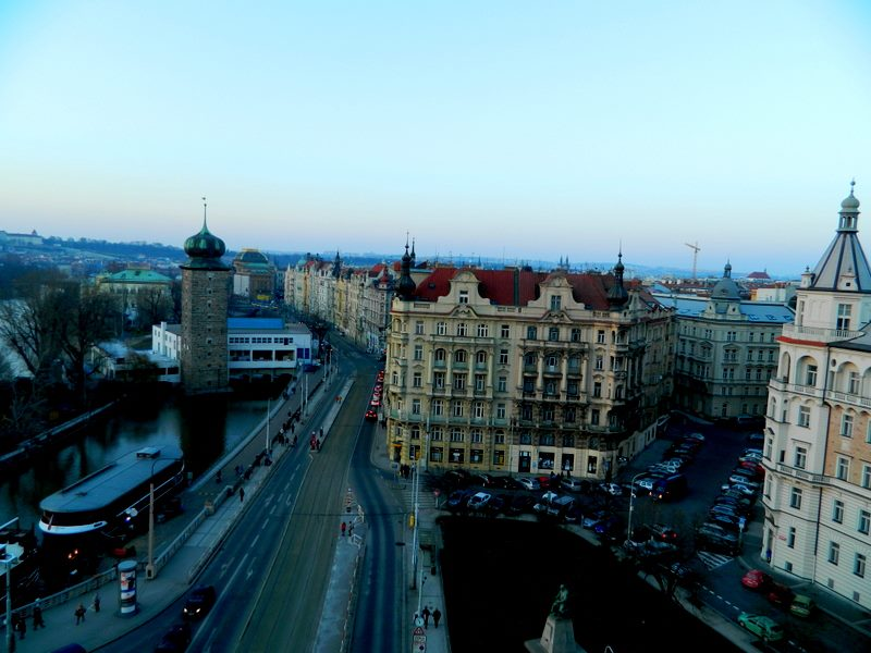 View from the Dancing House, which you can go to the top of for free with the purchase of a drink. Sold.
