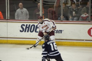 Steven Whitney looks to make a play against UNH. Photo Courtesy of kcz33/flickr