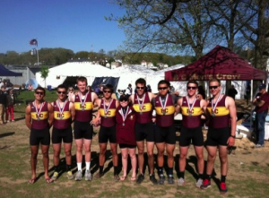The N8 (novice eight) after their second place finish at NERC (New England Rowing Championships).