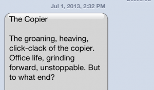 A mid work day text from Peter.