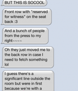 Peter's play by play texts to me the day of the hearing.