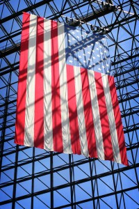 The flag hanging in the JFK library. Image via Randy Son of Robert/Flickr.