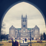 It remains unknown which is prettier on campus: students or Gasson. Photo courtesy of Boston College/Facebook.