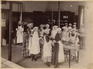 A cooking class at the Old Roxbury High School from the late 19th century. Photo courtesy of Boston Public Library/Flickr.
