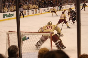 Thatcher Demko tracks the shooter during BC's tilt against Northeastern. Photo courtesy of flickr / jeffcutler.