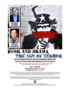 Photo courtesy of Bush and Obama - Age of Terror: An Afternoon With Director Oliver Stone and Historian Peter Kuznick/Facebook