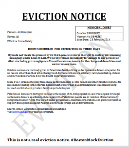 NU SJP Mock Eviction Notice/Courtesy of NU SJP Twitter