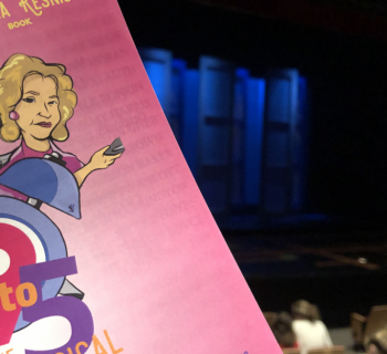 9 to 5 playbill with art in front of the blue-lit stage!