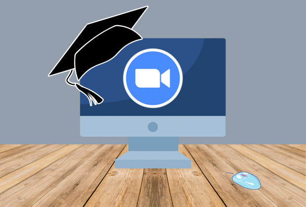 Graphic of a computer on a desk, with the zoom logo, a graduation cap propped on the computer.