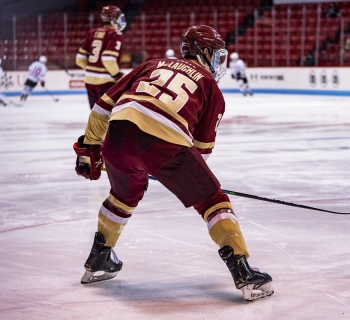Bc Eagles hockey practicing on the ice