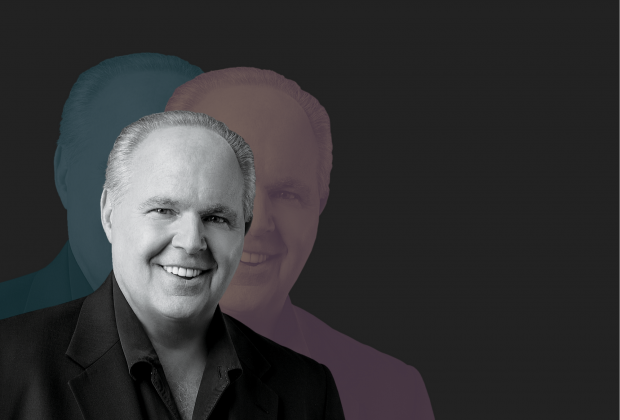Photo of Rush Limbaugh over a black background