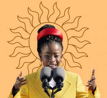 Amanda Gorman from the Inaguration, over a yellow background, with a sun halo.