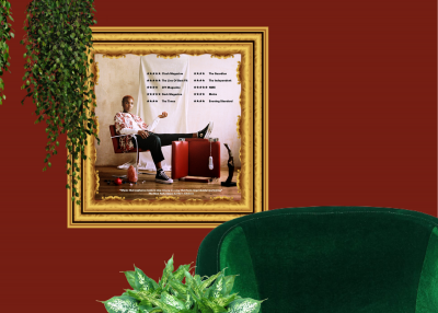 Arlo Parks album framed on a red wall, surrounded by plants, with a green chair in the foreground