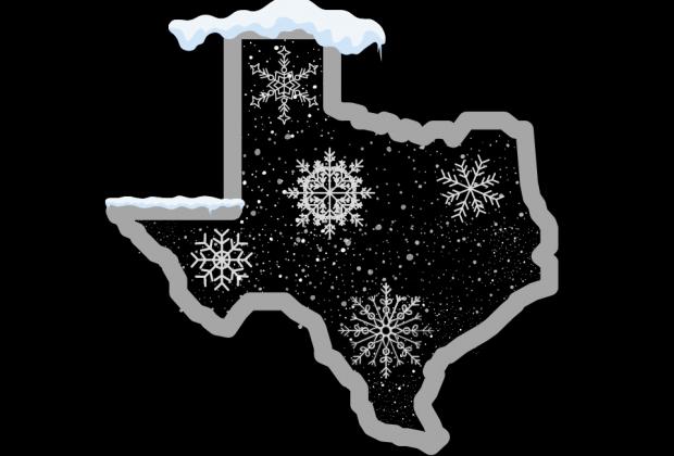Texas outline over snow, frozen over